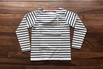 快晴堂 かいせいどう セーラー刺繍ボーダーTシャツ 91C-09G COL4ネイビー