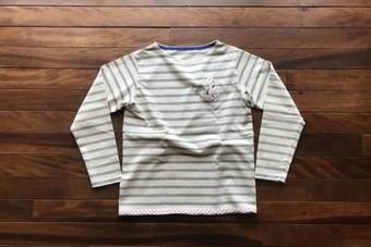 快晴堂 かいせいどう セーラー刺繍ボーダーTシャツ 91C-09G COL3グレー